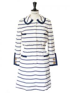 Robe marinière manches longues en soie rayée bleu marine et blanche Taille 40