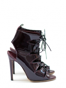 Patent burgundy leather lace up ankle boots NEW Retail for 950&euro; Size 37