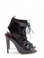 Patent burgundy leather lace up ankle boots NEW Retail for 950 Size 37