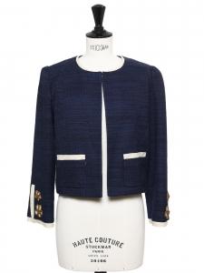 Veste blazer court en tweed bleu marine et boutons bijoux fleurs Prix boutique 900€ Taille 36