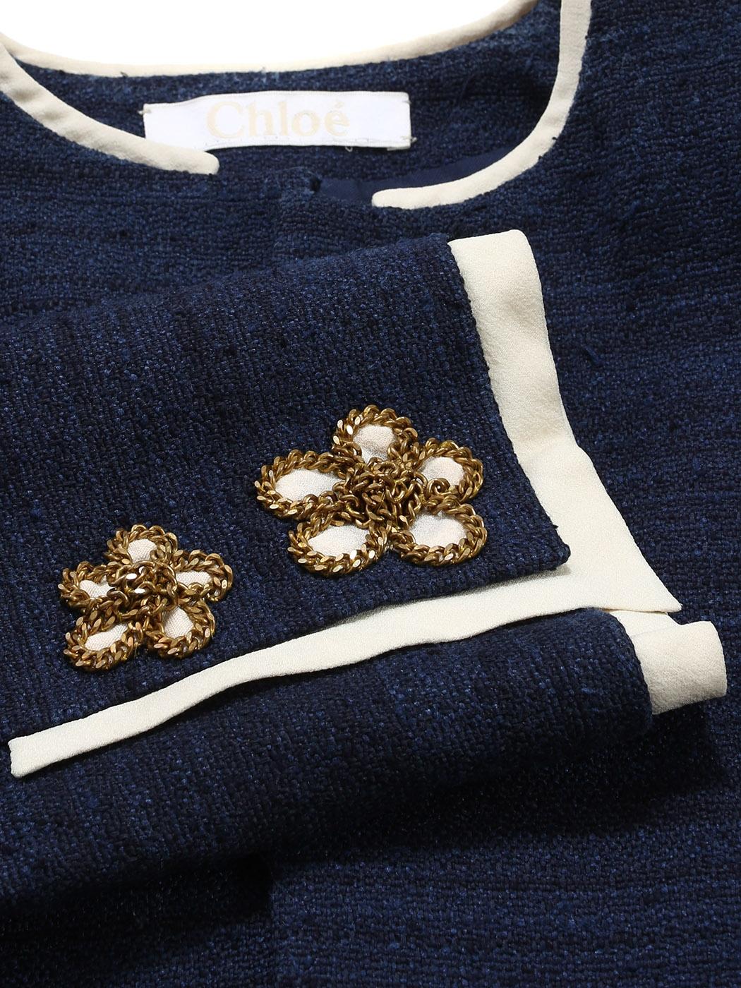 Louise Paris - CHLOE Navy blue tweed cropped jacket with