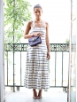 Sailor white and navy blue striped long dress with braided straps Retail price €1500 Size 36