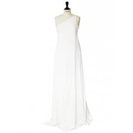 Robe de mariée longue asymétrique en lin blanc et mousseline de soie Px boutique 2500€ Taille 34