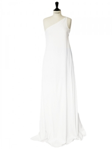 White linen and silk chiffon asymmetrical wedding dress Retail price €2500 Size XS