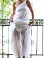 White linen and silk chiffon asymmetrical wedding dress Retail price €2500 Size XS
