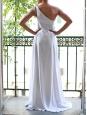 Robe de mariée longue asymétrique en lin blanc et mousseline de soie Px boutique 2500€ Taille 34/36