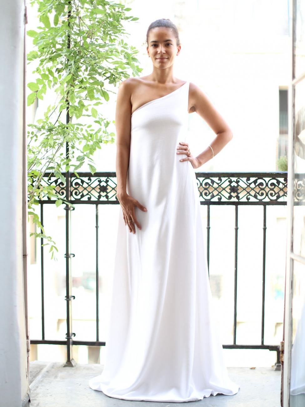 Louise Paris   CHLOE White linen and silk chiffon asymmetrical ...