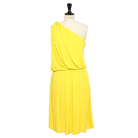 Bright yellow draped Grecian one shoulder cocktail dress Retail price €1550 Size 38 to 40