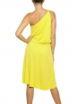 Bright yellow draped Grecian one shoulder midi length cocktail dress Retail price €1550 Size 38