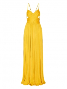 KIM Sunflower yellow plissé silk jersey maxi dress with open back Size 36