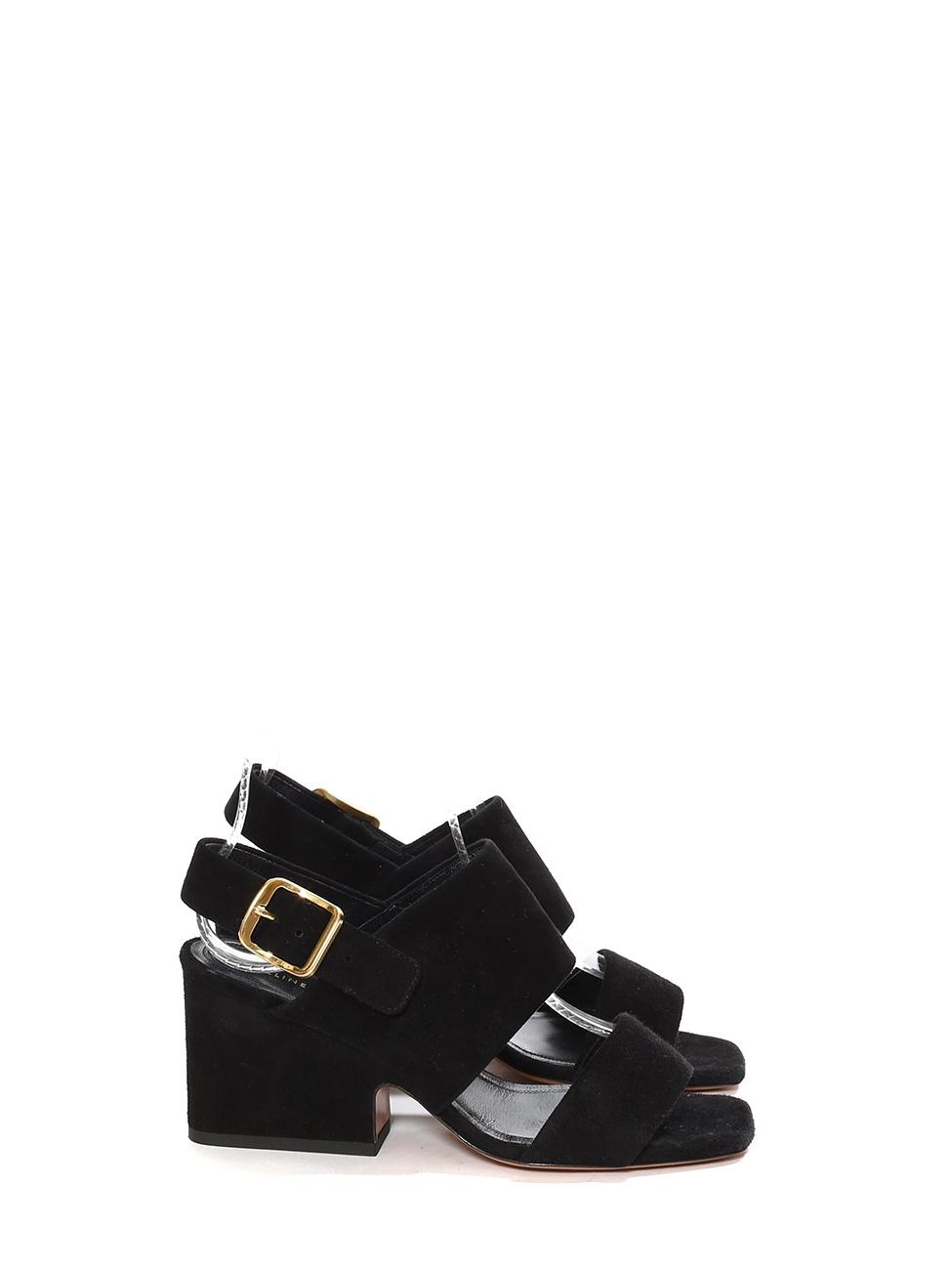 CELINE Black suede leather slingback