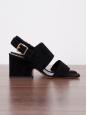 Sandales à talon épais en suede noir Prix boutique €680 Taille 35