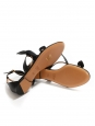 Sandales plates MIKE en cuir noir et petit noeud Prix boutique 540€ Taille 36,5