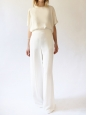 White crepe high waist flared maxi pants Retail price €750 Size 36