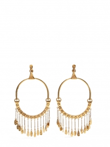 QUINN Gold brass large hoop clip earrings with charms Retail price €620