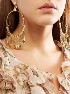 Boucles d'oreille créoles QUINN en laiton doré et charmes Prix boutique 620€