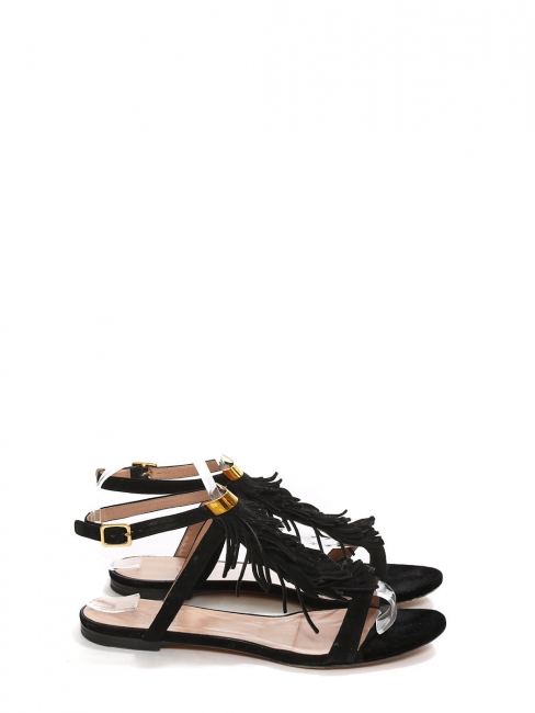 Black suede fringed flat sandals Retail price €450 Size 38