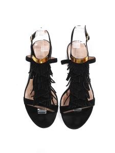Sandales plates à franges en suède noir Prix boutique 450€ Taille 38,5