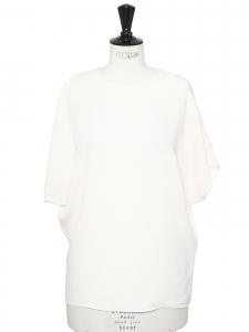 Open sleeve cream white silk round neck top Retail price €900 Size 36