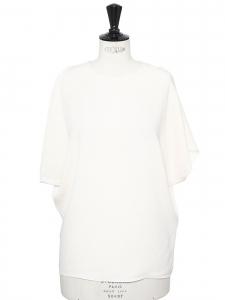 Top épaules nues manches courtes en soie blanc crème Prix boutique 900€ Taille 36