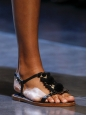 Black leather, gold flowers and pompom flat sandals NEW Retail price €660 Size 37
