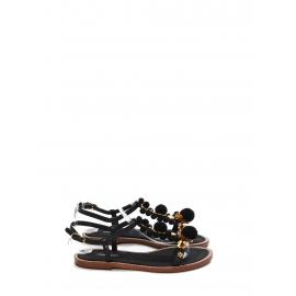 Sandales plates bijoux en cuir noir, pompons et fleurs dorées NEUVES Prix boutique 660€ Taille 40