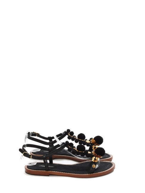 Black leather, gold jewel flowers and pompom flat sandals NEW Retail price €660 Size 40