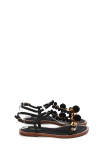 6676dea63ab2b Black leather, gold flowers and pompom flat sandals NEW Retail price €660  Size 37