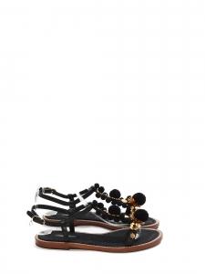 Sandales plates bijoux en cuir noir, pompons et fleurs dorées NEUVES Prix boutique 660€ Taille 37