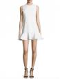 Robe sans manches évasée en crêpe de laine blanc ivoire Px boutique 550€ Taille 38