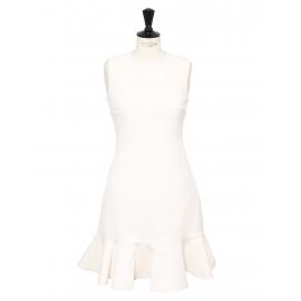 Robe sans manches évasée en crêpe de laine blanc ivoire Px boutique 550€ Taille 36 (UK 6)