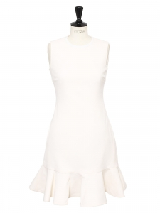 Ivory white ruffled wool crepe dress Retail price $625 Size 38