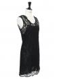 Sleeveless black guipure lace mini dress Retail price €500 Size 36