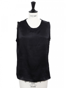 Black washed silk sleeveless top Retail price €700 Size 36