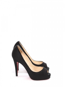 Black satin high heel peep toe pumps Retail price €550 Size 35.5