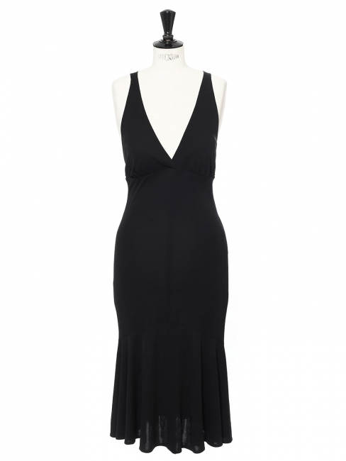 Deep décolleté open back mid-length black cocktail dress Retail price €900 Size 36