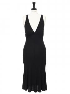 Robe de cocktail noire longue décolleté plongeant et dos nu Prix boutique 900€ Taille 36