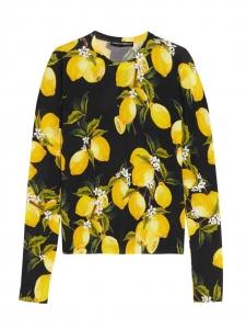 Pull col rond en soie et cachemire noir imprimé citron jaune Prix boutique £900 Taille 38