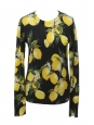 Black silk and cashmere sweater with yellow lemon print Retail price £900 Size 38