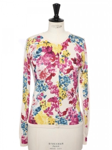 Red, pink, yellow, blue and white floral print silk cardigan Retail price £895 Size 36