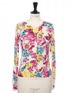 Gilet col rond en soie fleurie rose rouge jaune, bleu et blanc Prix boutique £895 Taille 36
