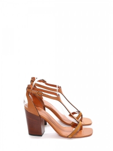 Camel brown T-strap wooden heel sandals Retail price €650 Size 37.5