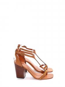 Sandales T en cuir camel à talon bois et bride cheville Prix boutique 650€ Taille 37,5