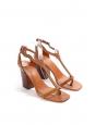 Camel brown T-strap wooden heel sandals Retail price €650 Size 37.5