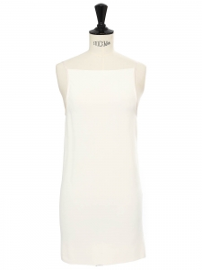 Ivory white stretch jersey open back thin strap mini dress Retail price €1500 Size XS