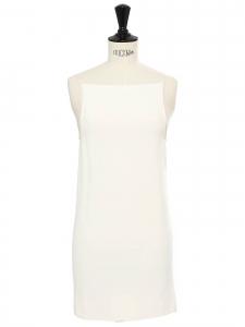 Mini robe dos nu à fine bretelle blanc ivoire Prix boutique 1500€ Taille 34
