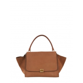 Large size camel and fawn brown leather TRAPEZE handbag Retail price €2400