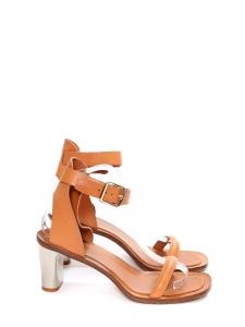 Sandales BAM BAM à bride cheville en cuir camel, talon argent Px boutique 650€ Taille 40