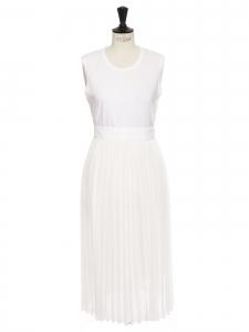 Robe blanche sans manches jupe plissée Px boutique 800€ Taille 36