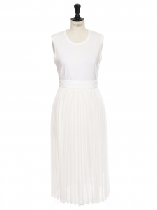 White pleated sleeveless dress Retail price €800 Size 36